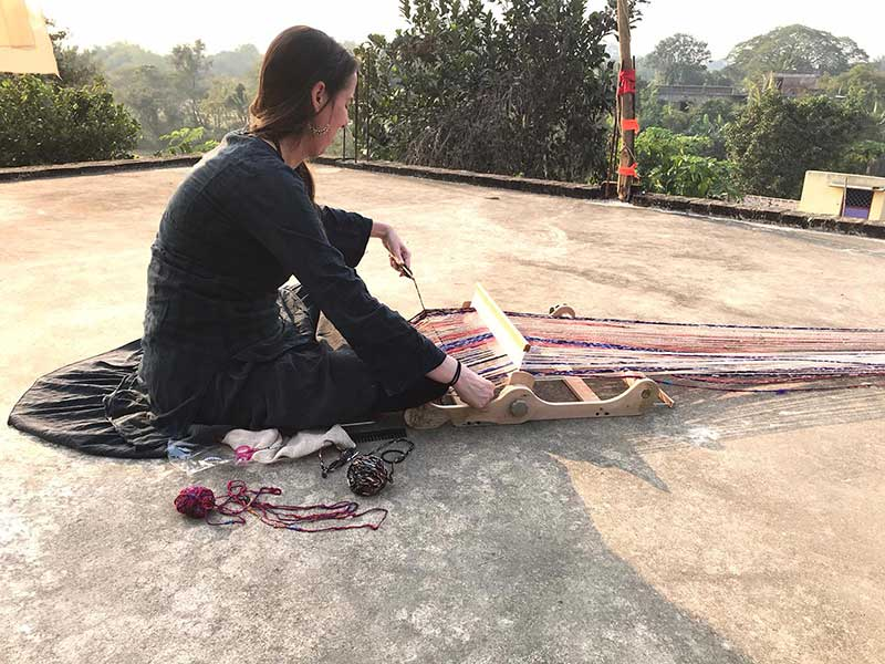 Follow Erna Janine, founder of @freeweaver_saori_studio in her textile residency in India