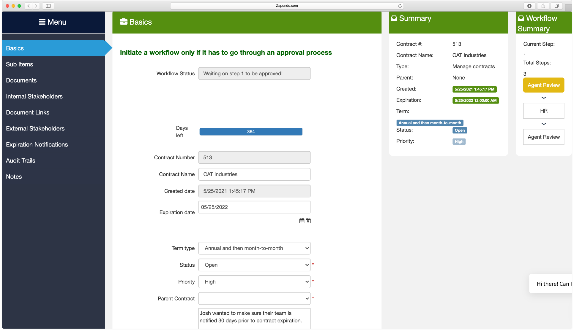 Contract Management Module screenshot