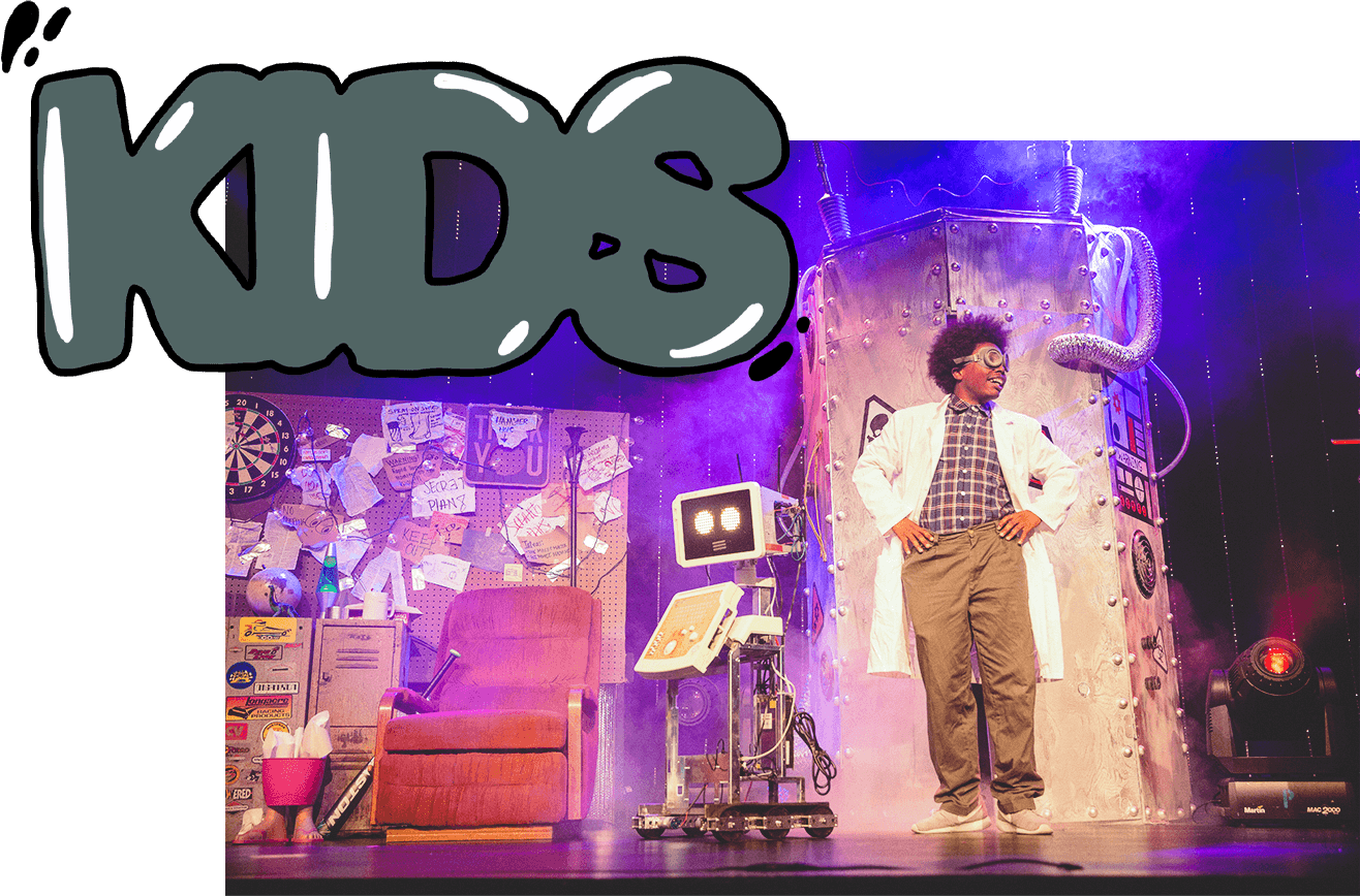 A LIFE CO. Kids graphic with a mad scientist character smiling on a stage depicting a science lab.