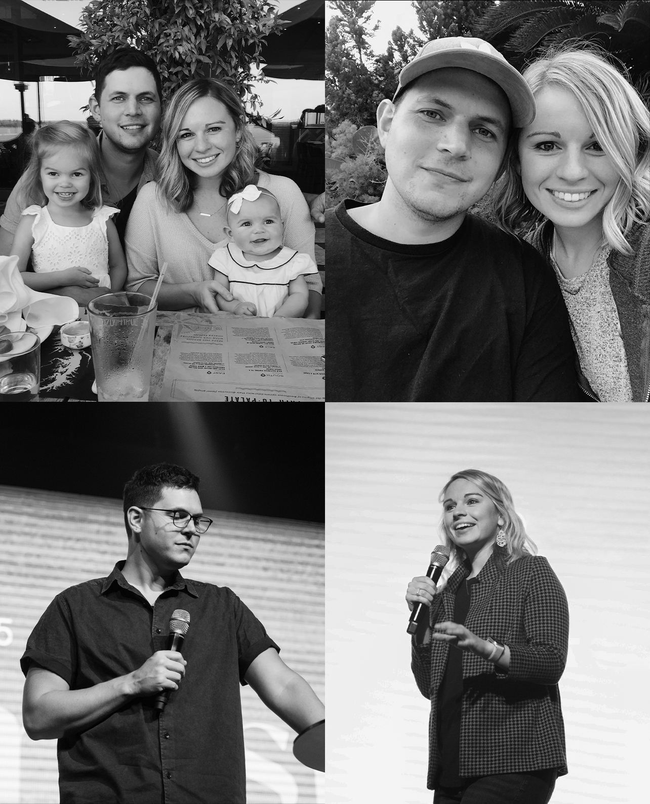 A 4 photo collage of LIFE CO. pastors Kyle and Kenzie. The top photos are of their family together, and the bottom images are Kyle and Kenzie speaking at LIFE CO.