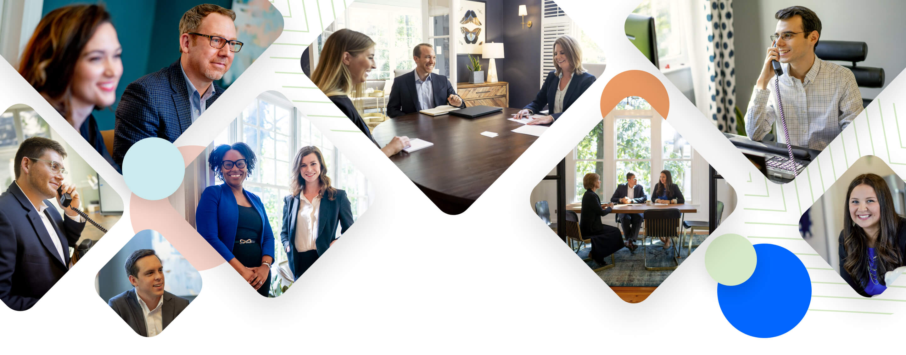 A collage of financial advisors from Athens, Atlanta, and Charleston