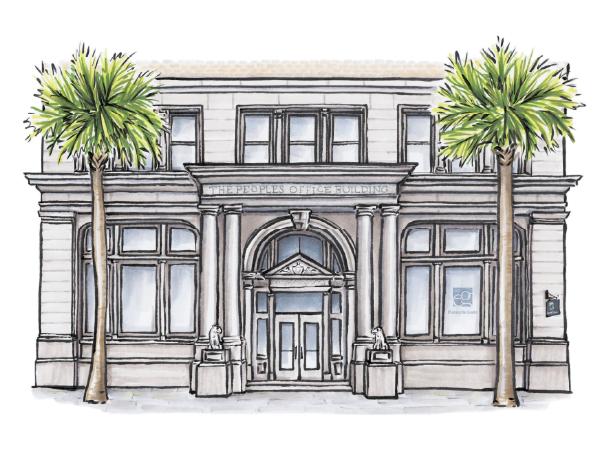 Hand-drawn sketch of Elwood & Goetz Charleston, South Carolina, office