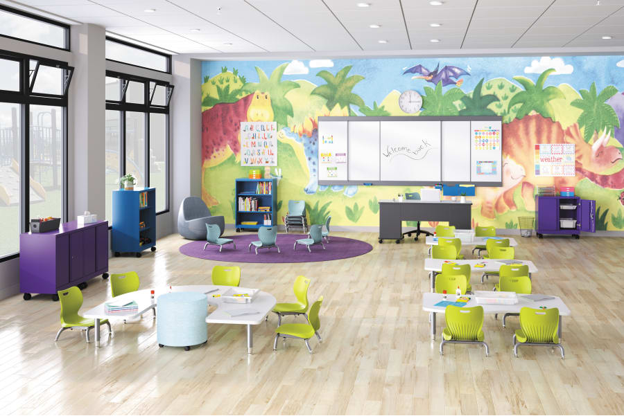 Brighten your Pre-K area with colors and collaborative furniture.