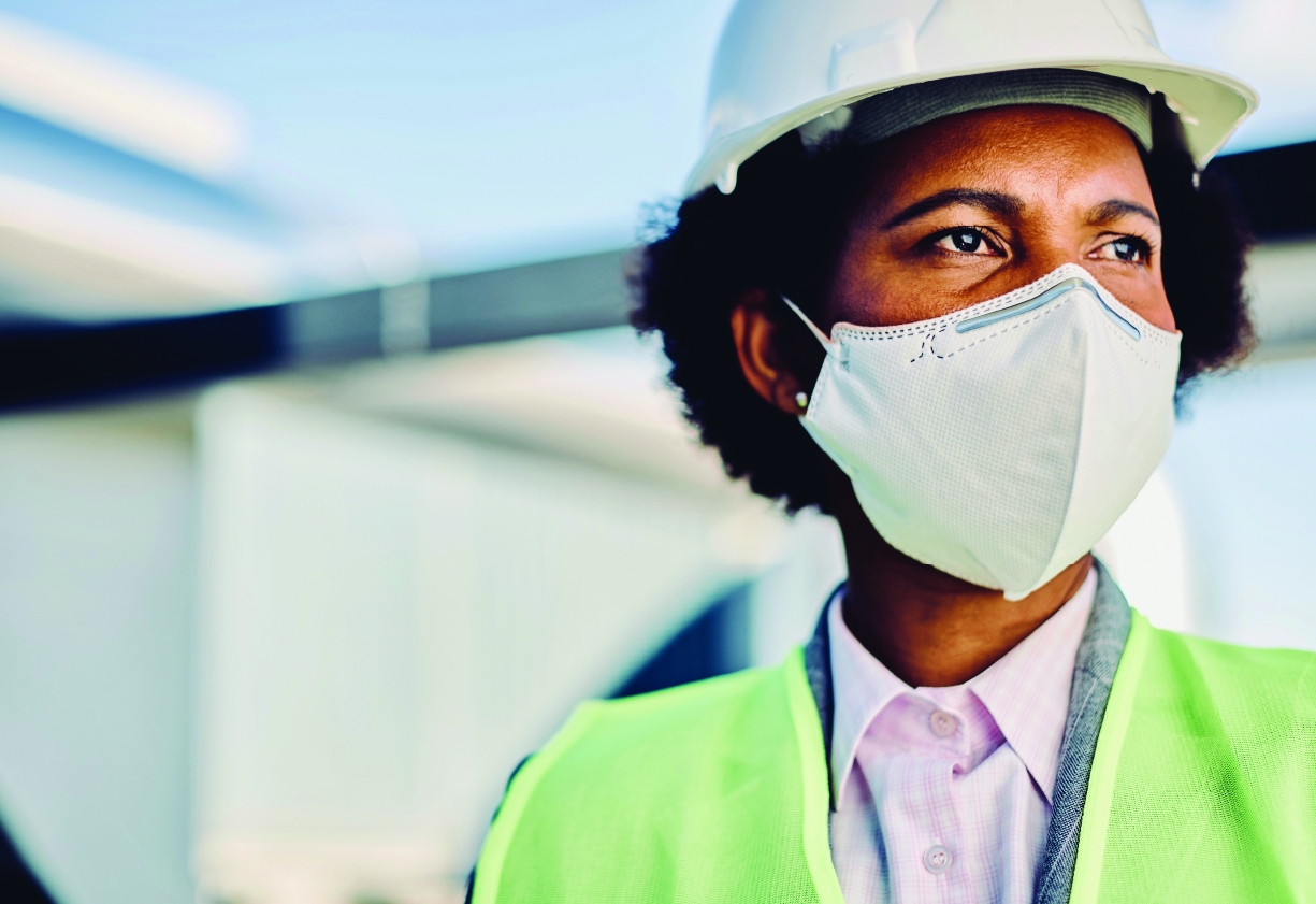 African American Woman Construction Worker wearing a Mask