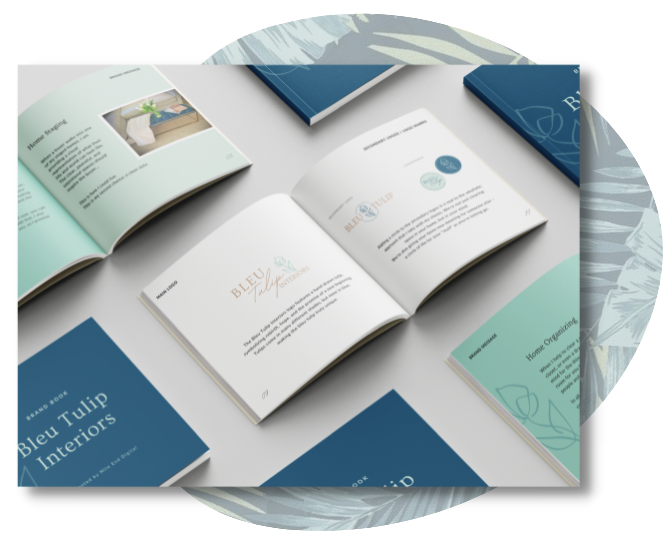 Mockup of the brand book for Bleu Tulip Interiors