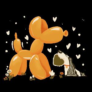 real dog giving balloon dog a heart