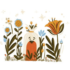 dog sitting in a field of growing flowers
