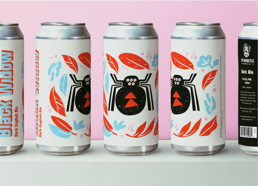 Beer can label with black widow spiders