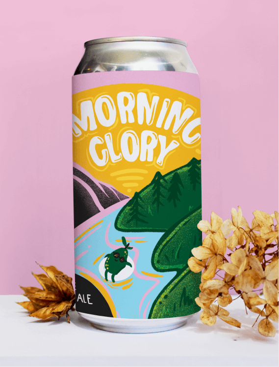 Morning glory label with floating guava