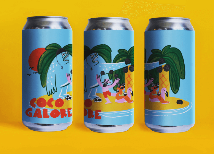 Coco Galore label with coconut monster