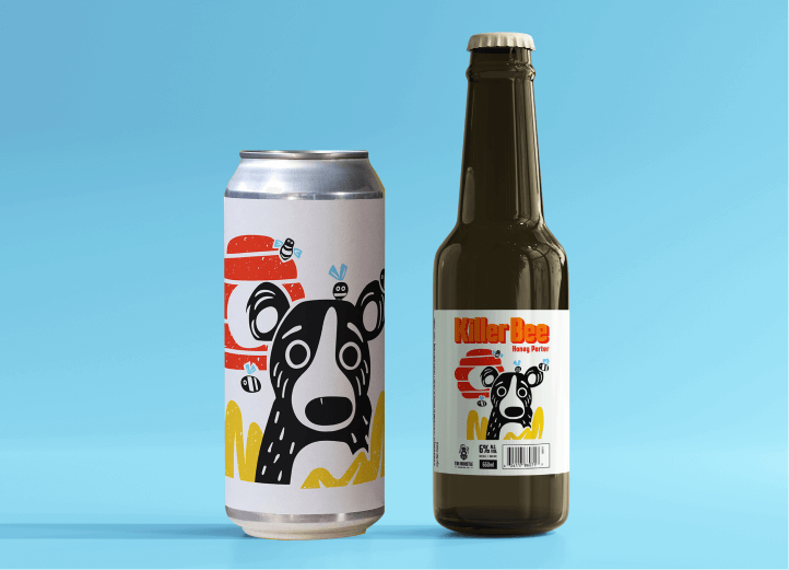 Killer bee label with bear and bees