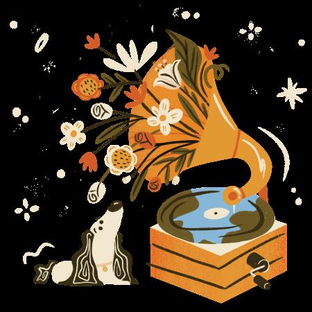 dog listening to music through gammaphone making flowers