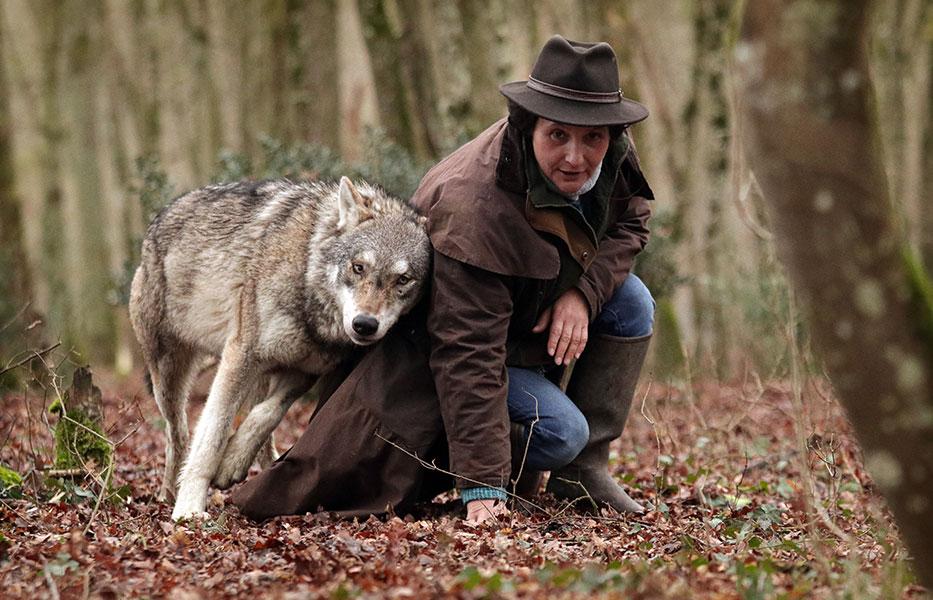 Muriel Bec et un loup dans la forêt