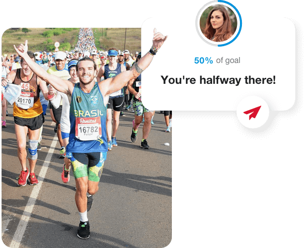 An image of a man running a marathon with his hands up in the air, a mockup of the platform that shows that he is 50% to his goal amount.