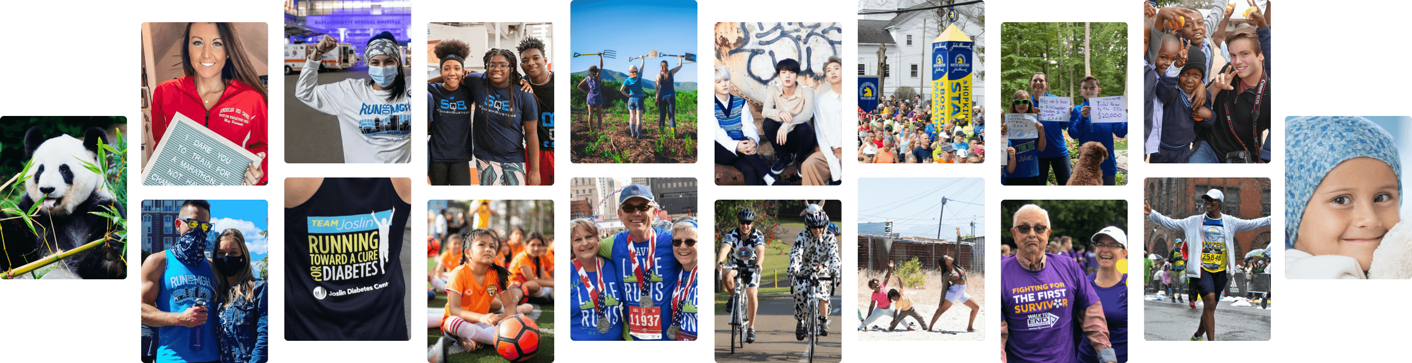 A collage of different fundraiser and charity images. Examples include people running marathons for charity