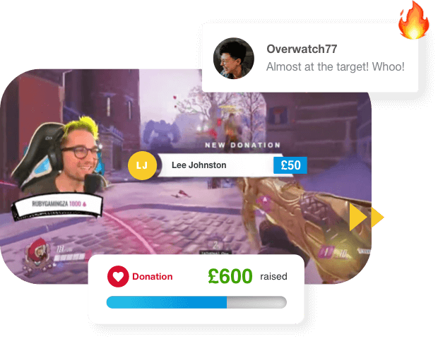 A visual mockup of the live streaming widget that GivenGain provides. We can see donations coming in.