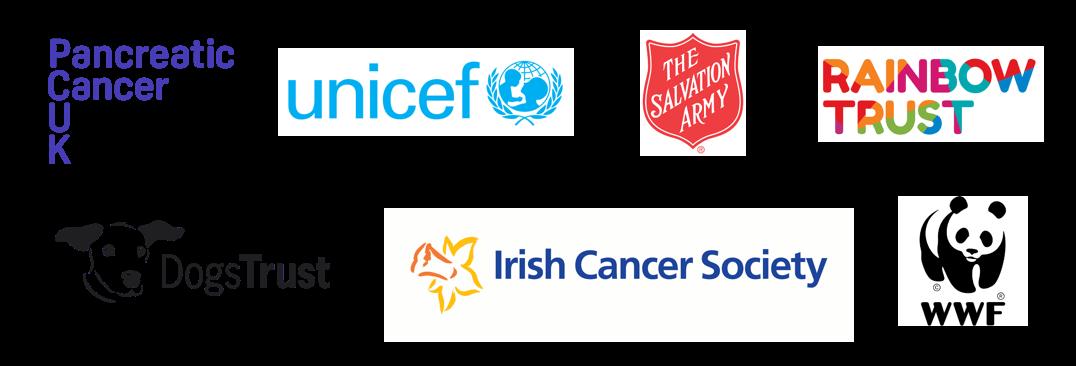 Logos of charities in order Pancreatic Cancer UK, Unicef, The Salvation Army, Rainbow Trust, Dog Trust, Irish Cancer Society, WWF