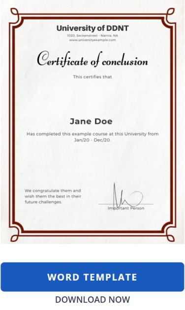 Certificate Template: Word Classic