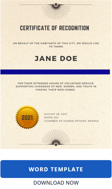 Certificate Template: Recognition with Word