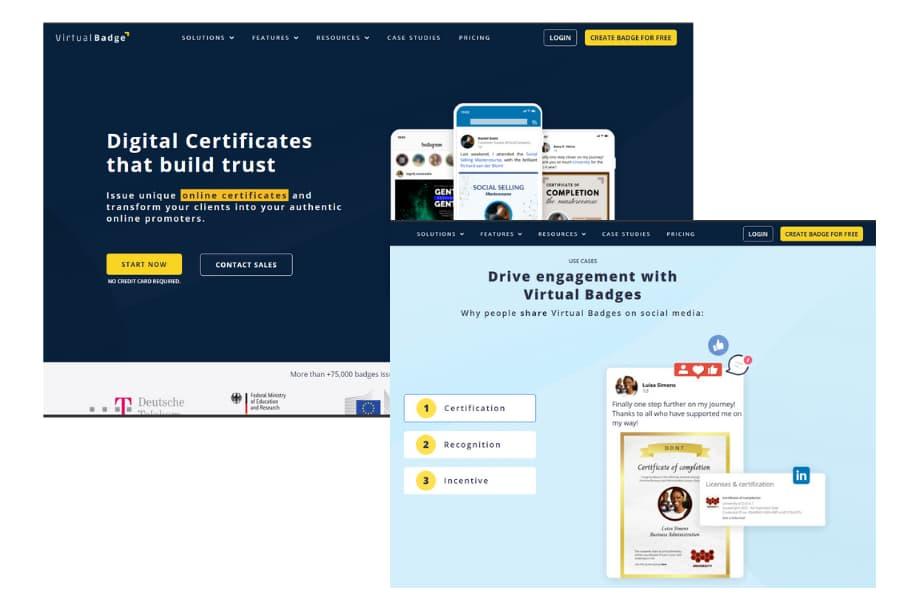 virtualbadge.io landing page