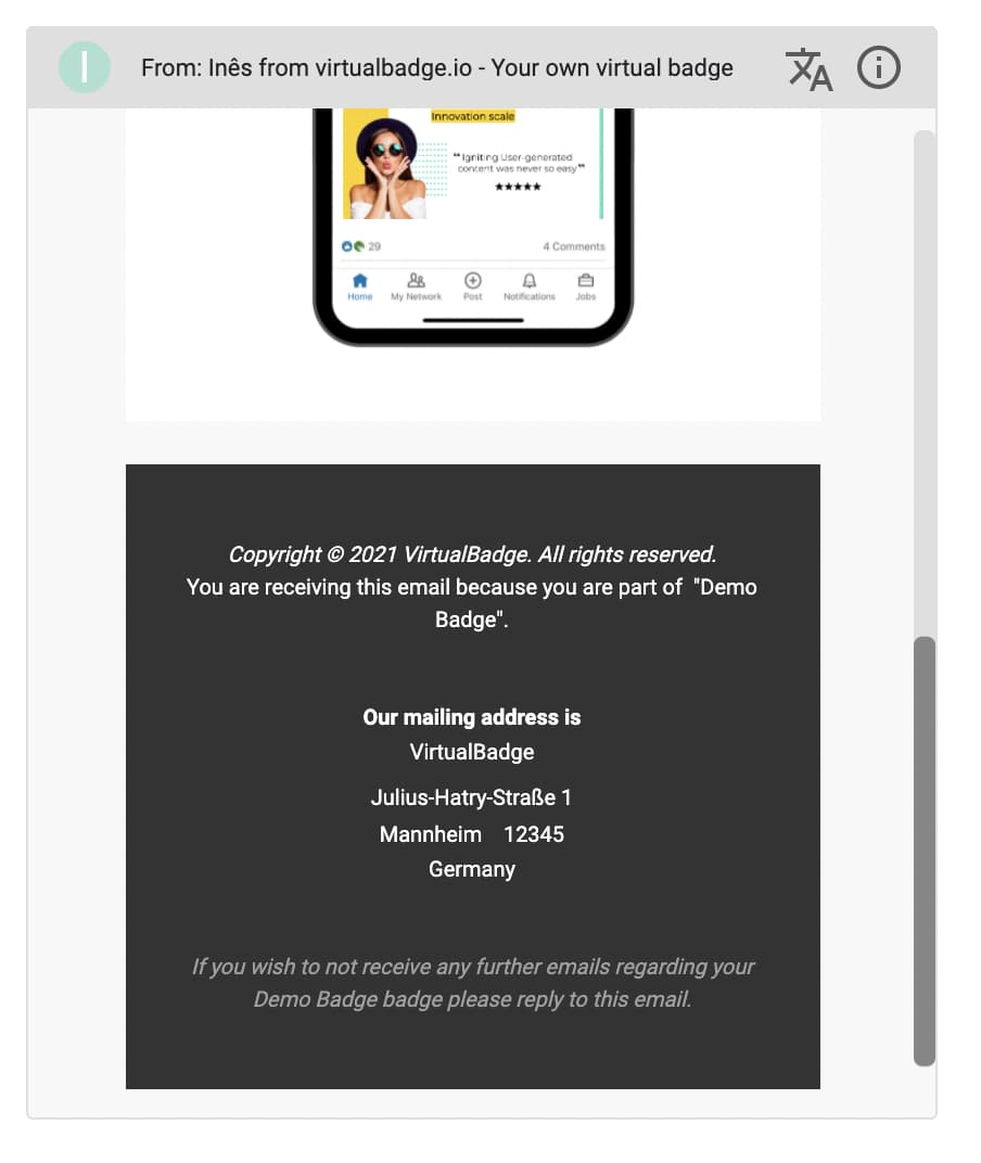 badge creator software - email campaign set up