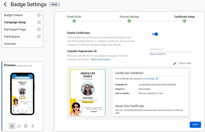 unique certificate pages Virtualbadge.io
