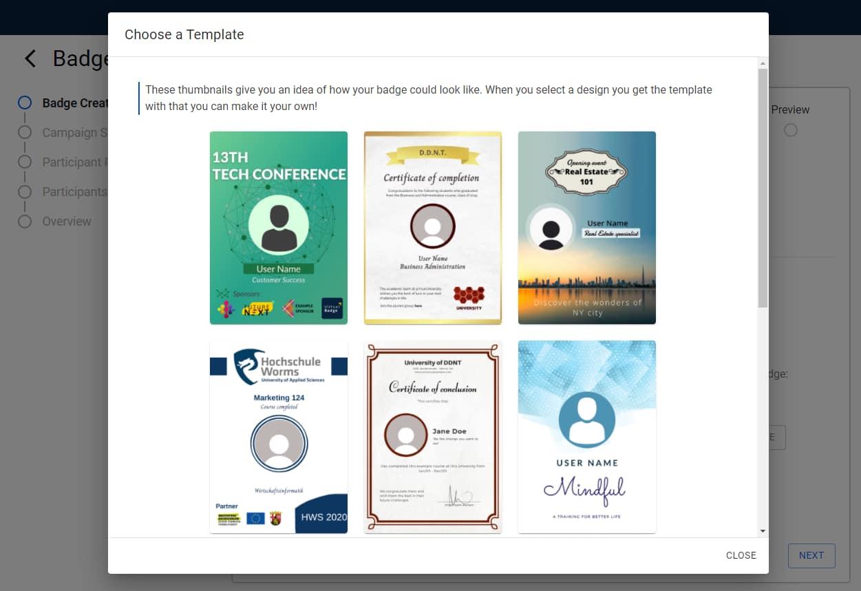 digital badges template gallery