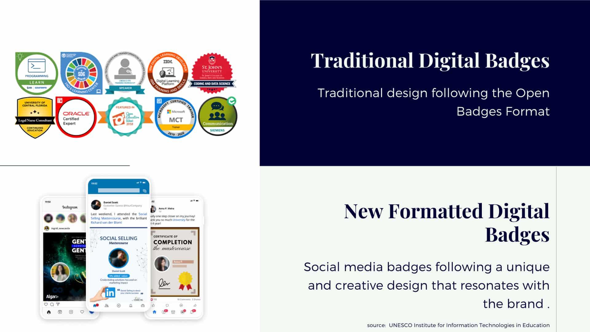 social media badges design vs. traditional digital badges