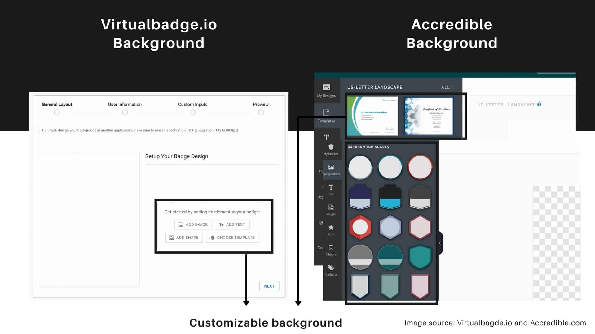 Virtualbadge.io vs. Accredible background of the badge design