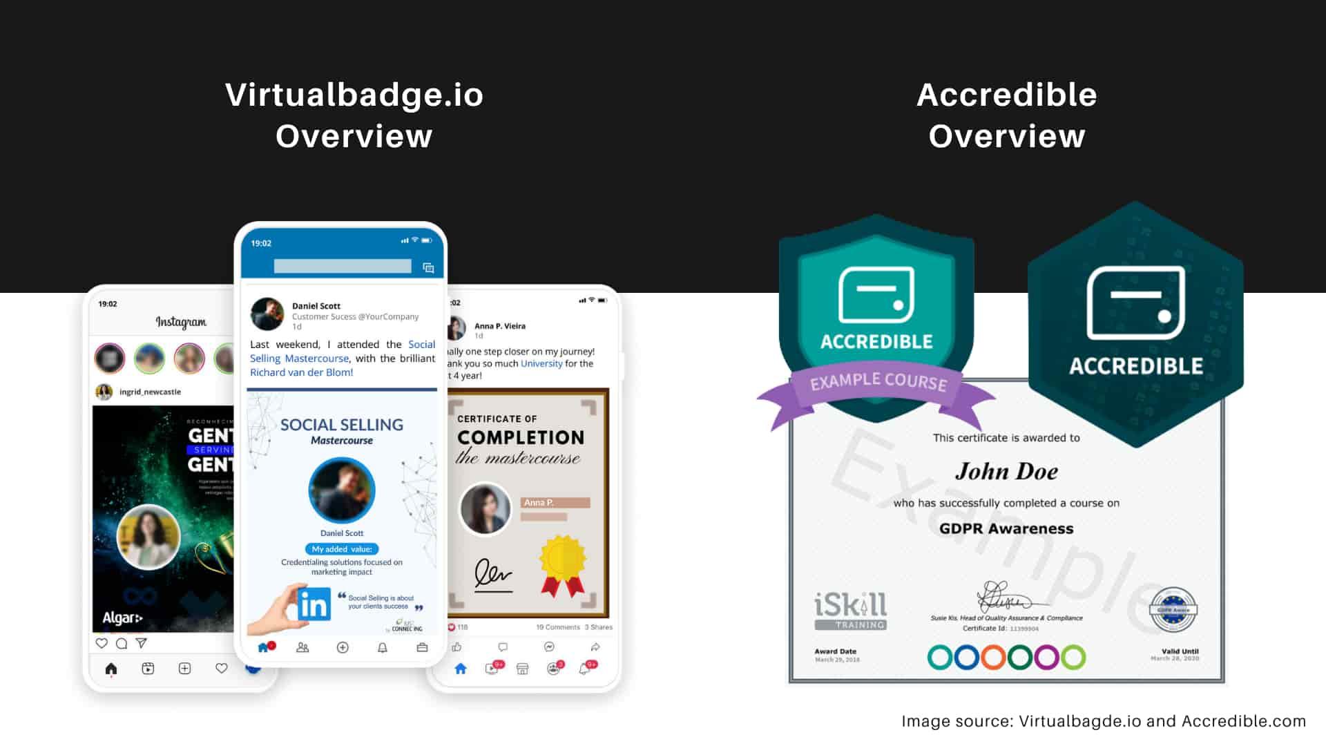 Virtualbadge.io vs. Accredible - Badge design overview