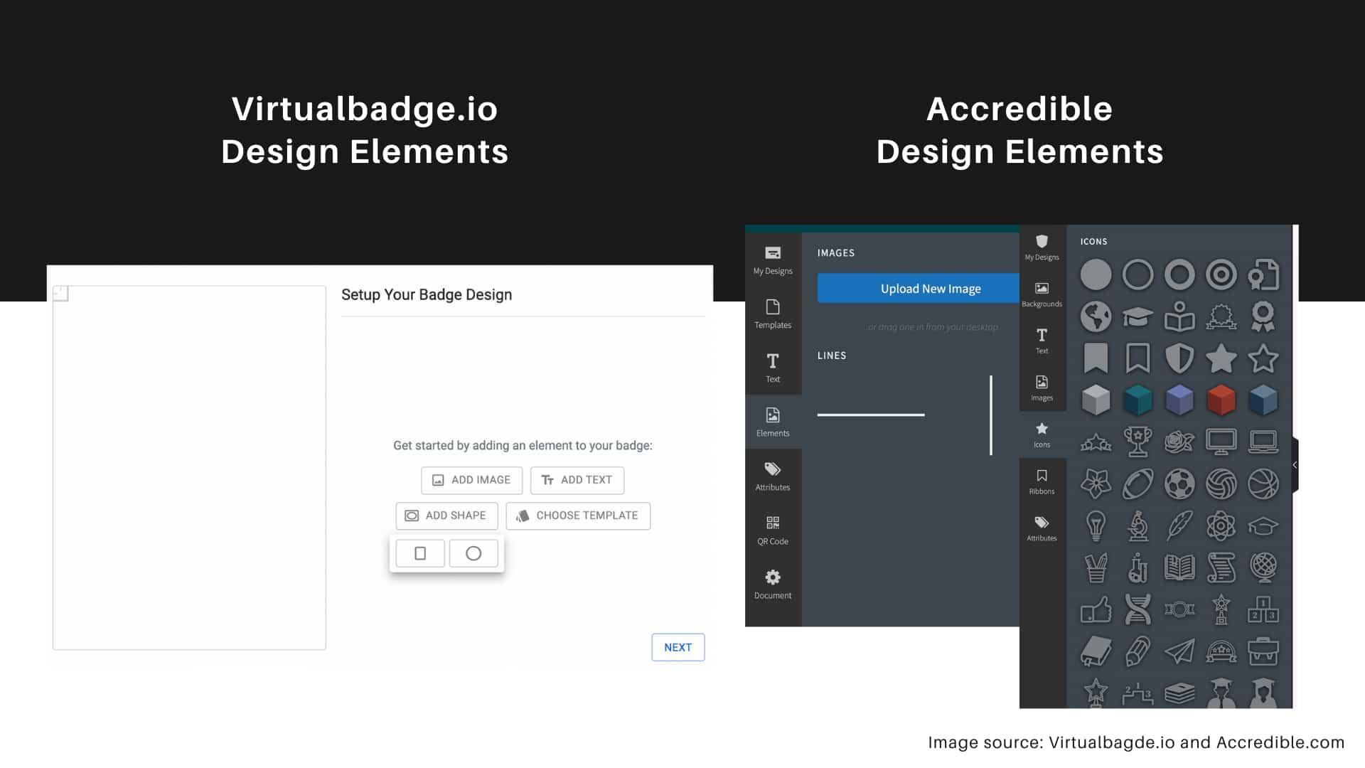 Virtualbadge.io vs. Accredible - design elements for the software