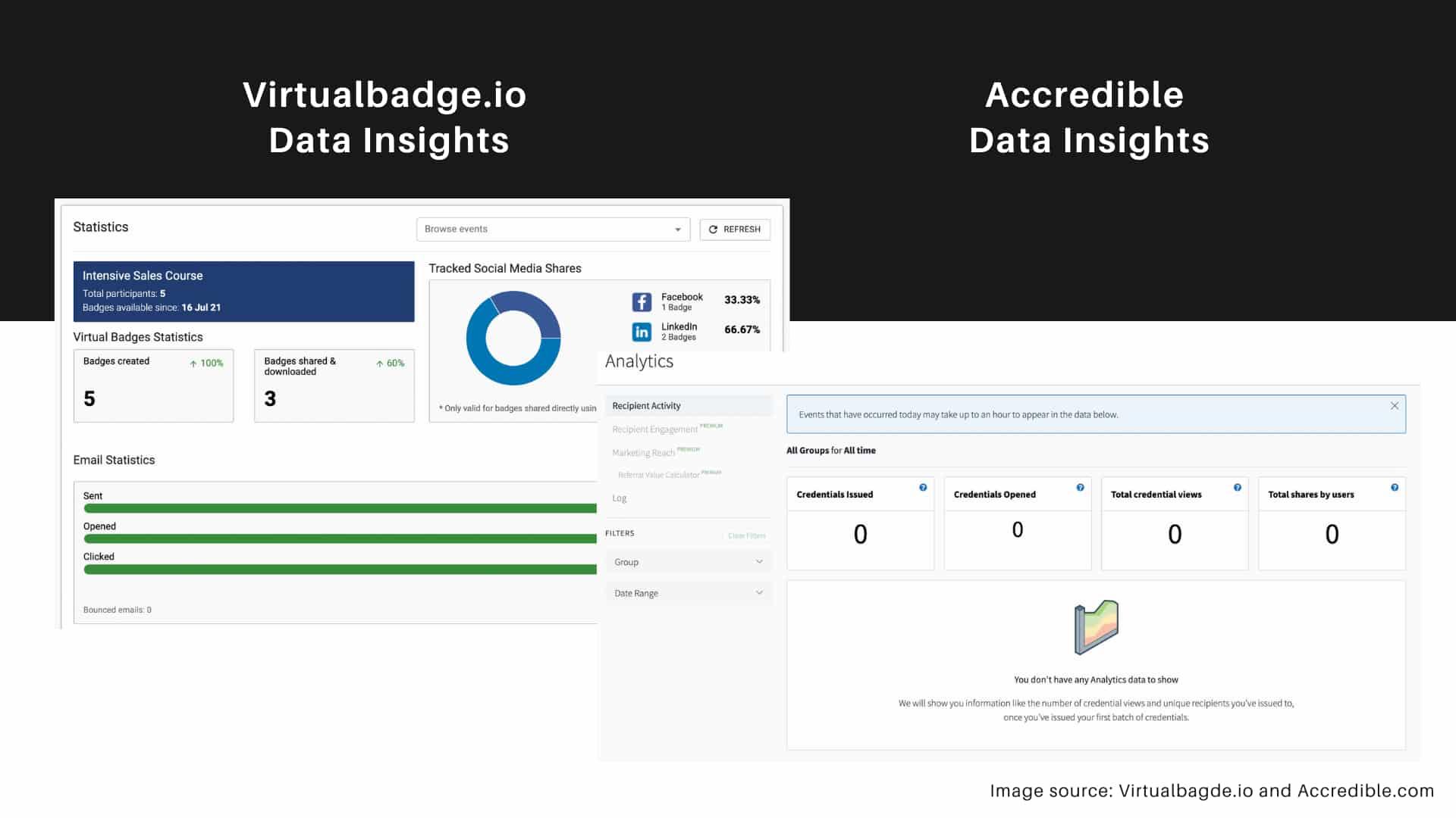 data insights feature - Acredible vs Virtualbadge.io