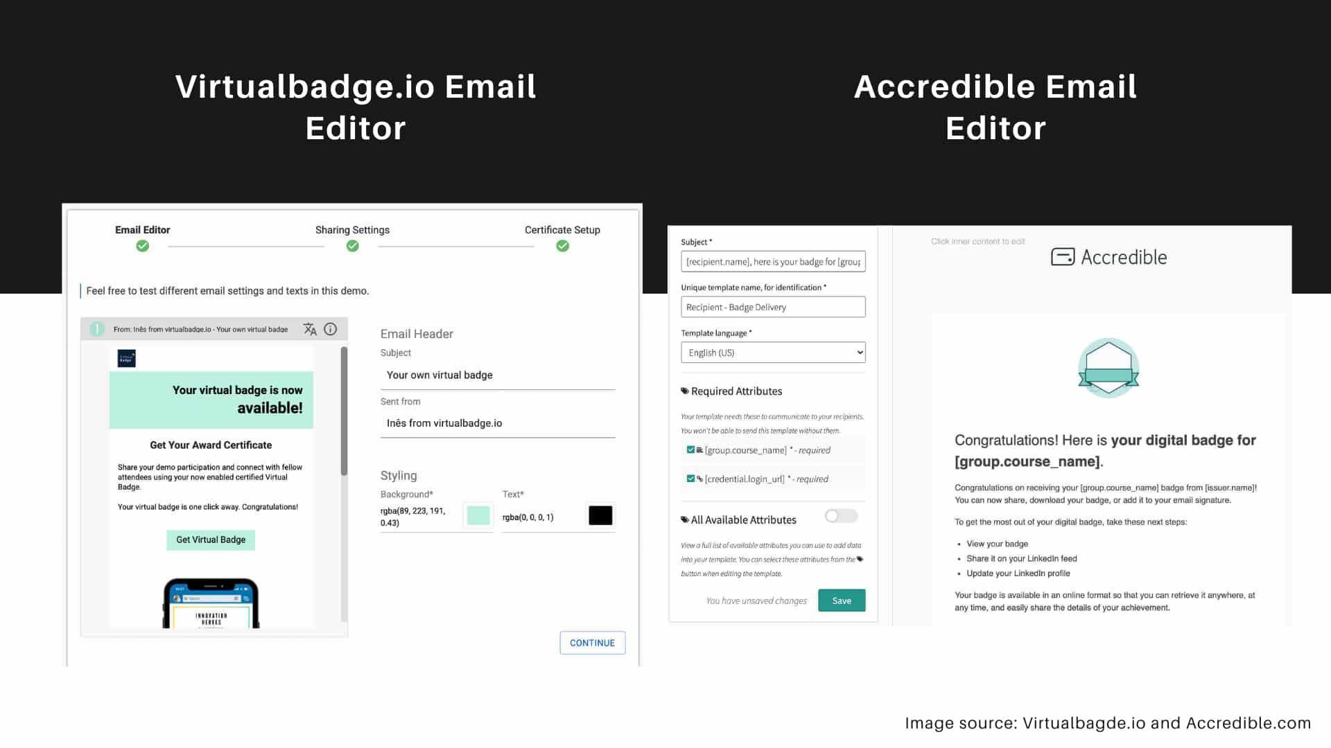 Email editor feature - Virtualbadge.io vs. Accredible