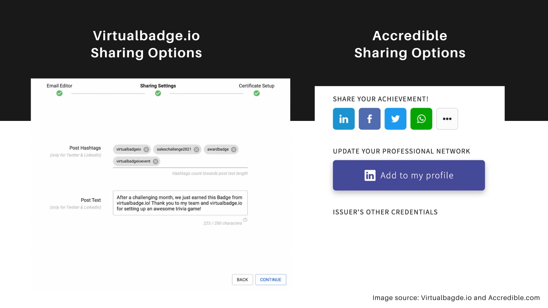 Virtualbadge.io vs Accredible software - Sharing options feature