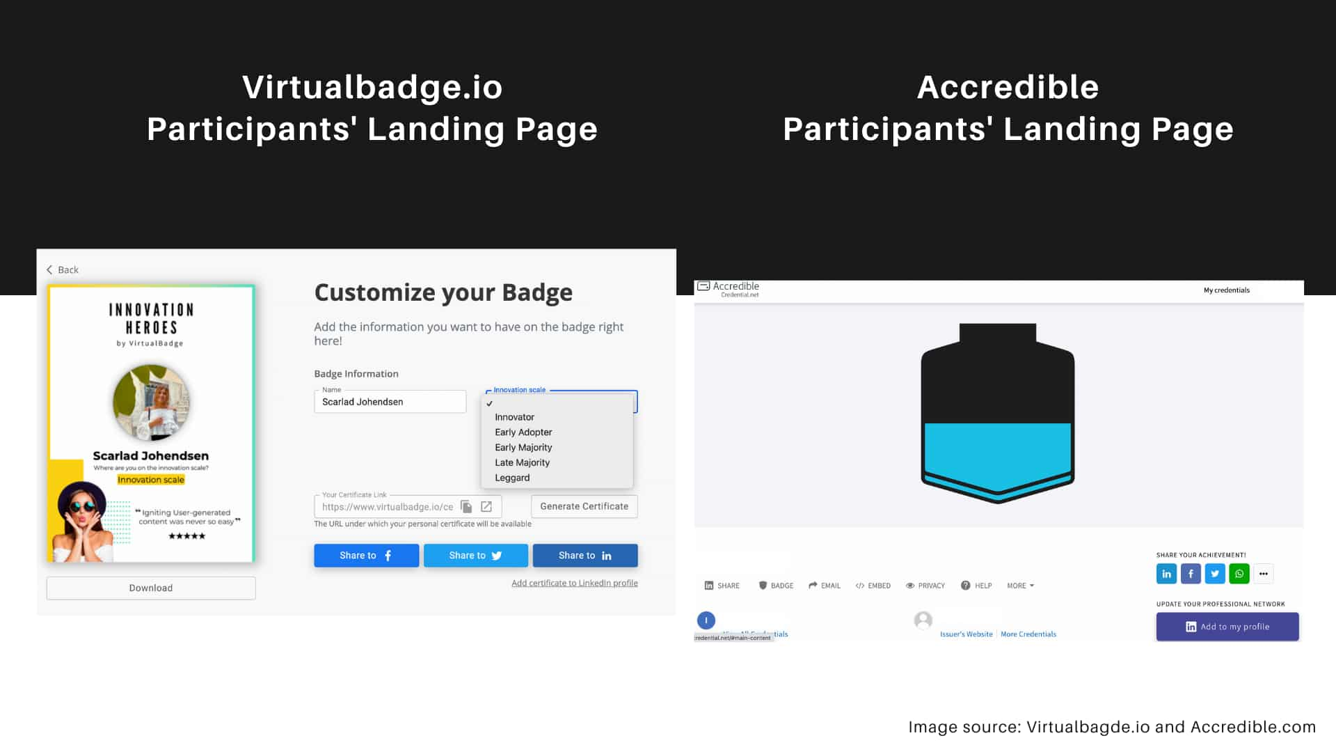 Virtualbadge.io vs Accredible - Participants' Landing Page Feature