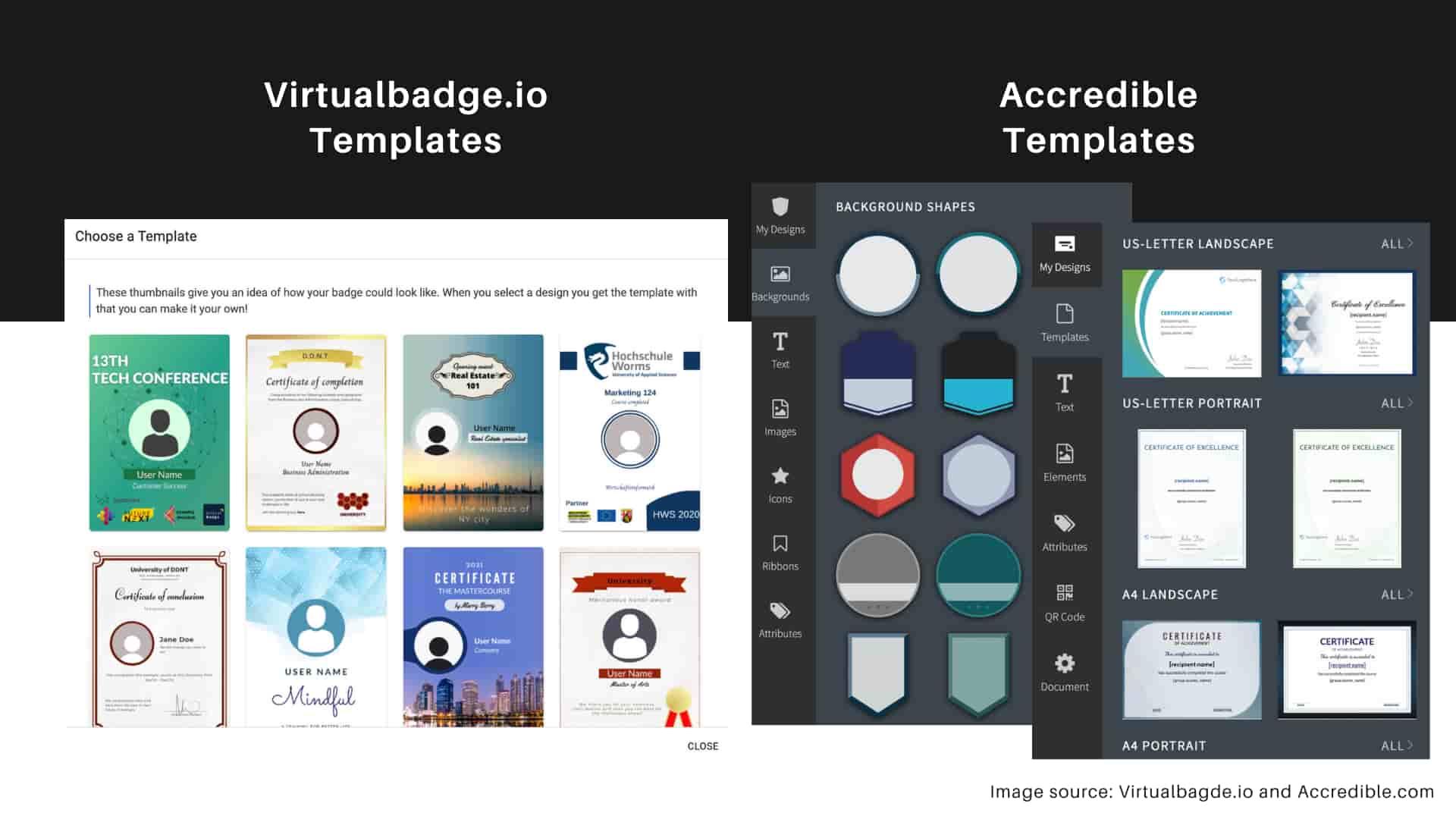 Virtualbadge.io vs Accredible - Templates options