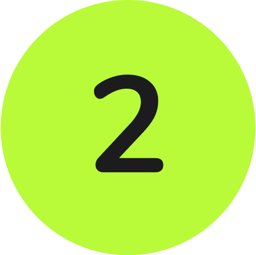 a black number two inside of a compete green circle