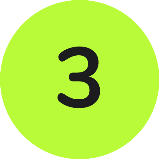 a black number three inside of a compete green circle