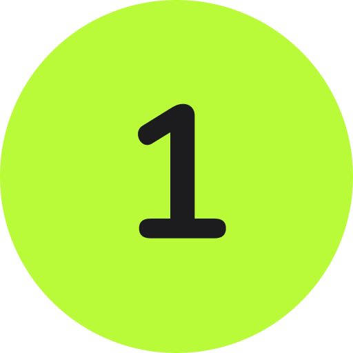 a black number one inside of a compete green circle