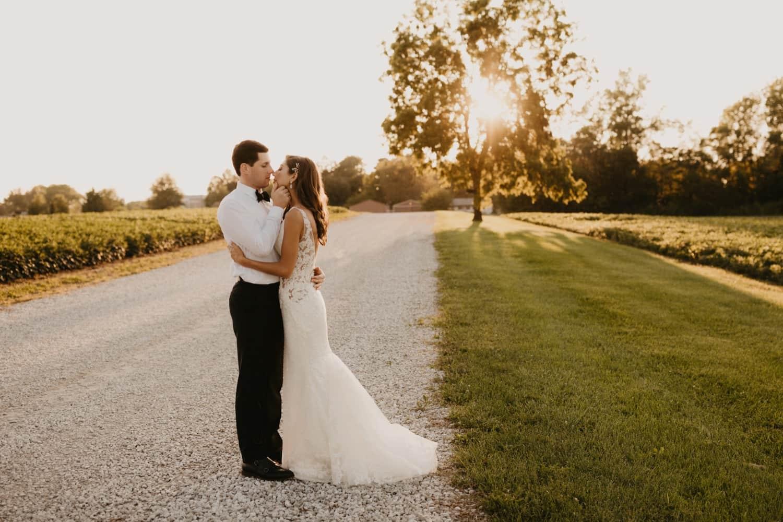 Bride & groom at golden hour
