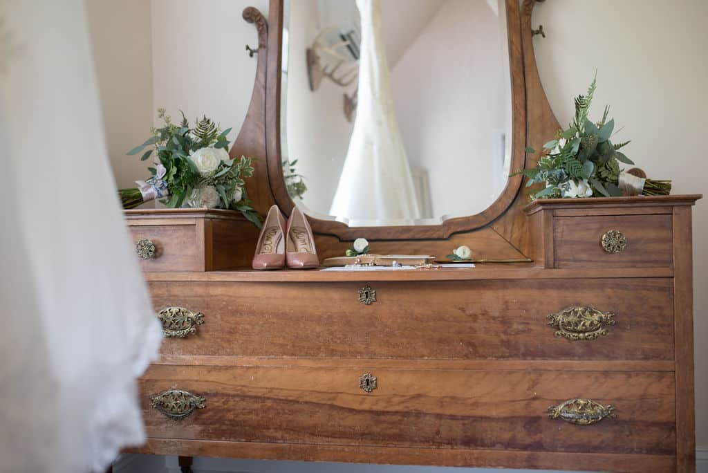 Mirror reflection of wedding dress