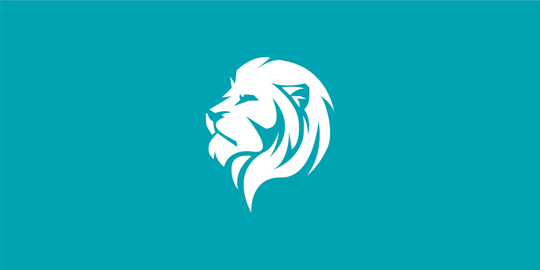White empowermotion lion on turquoise background