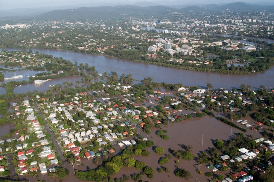 an image of a flooded village from the air