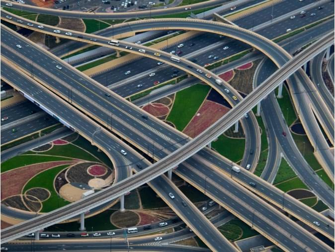 an aerial view of a large interchange