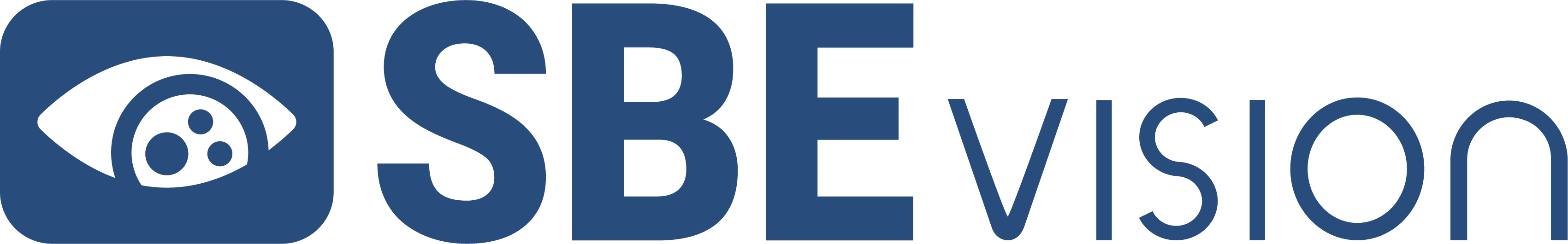 The SBE Vision logo: An eye icon made up of an eye next to the word mark.