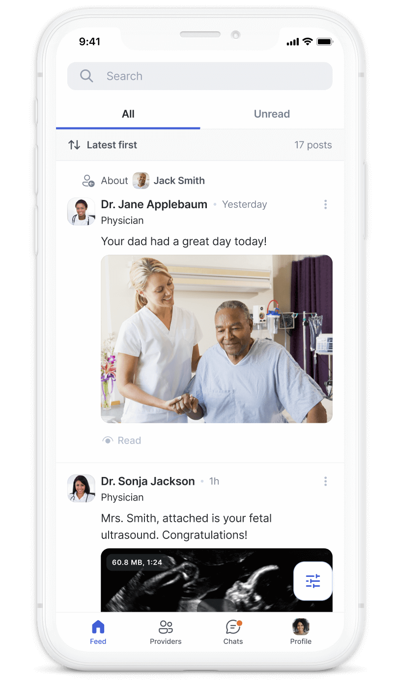 Tell Health application news feed
