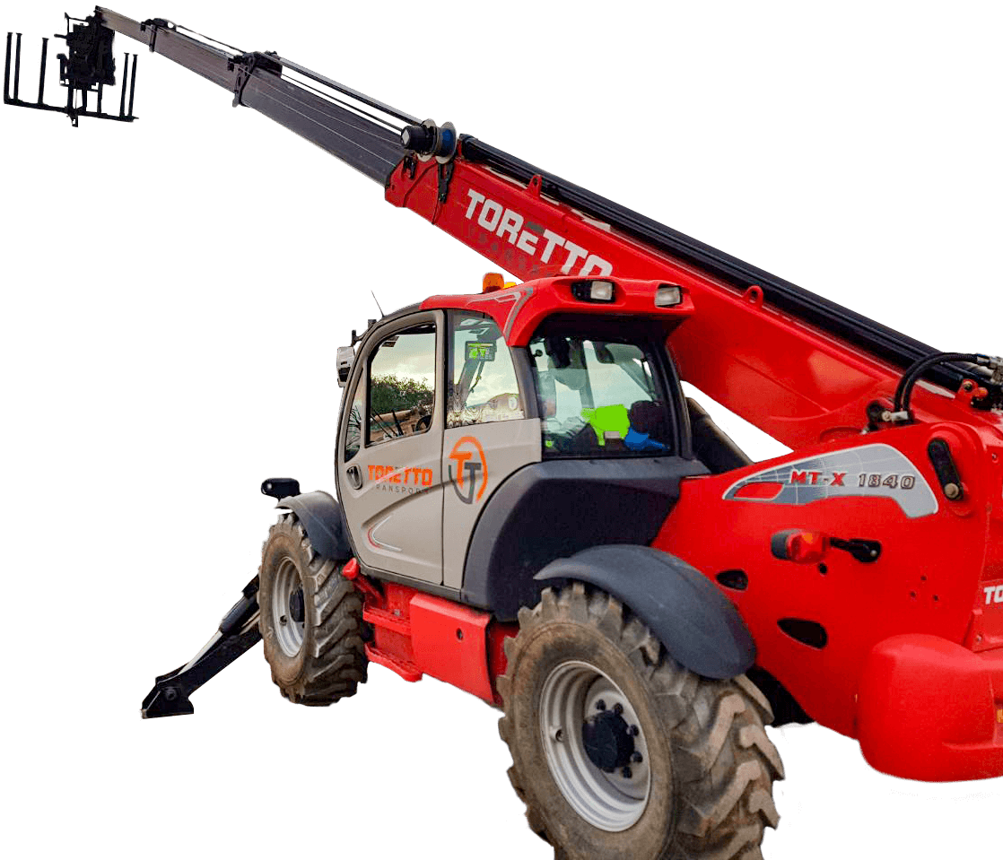 Low angle photo of telehandler extended into the sky