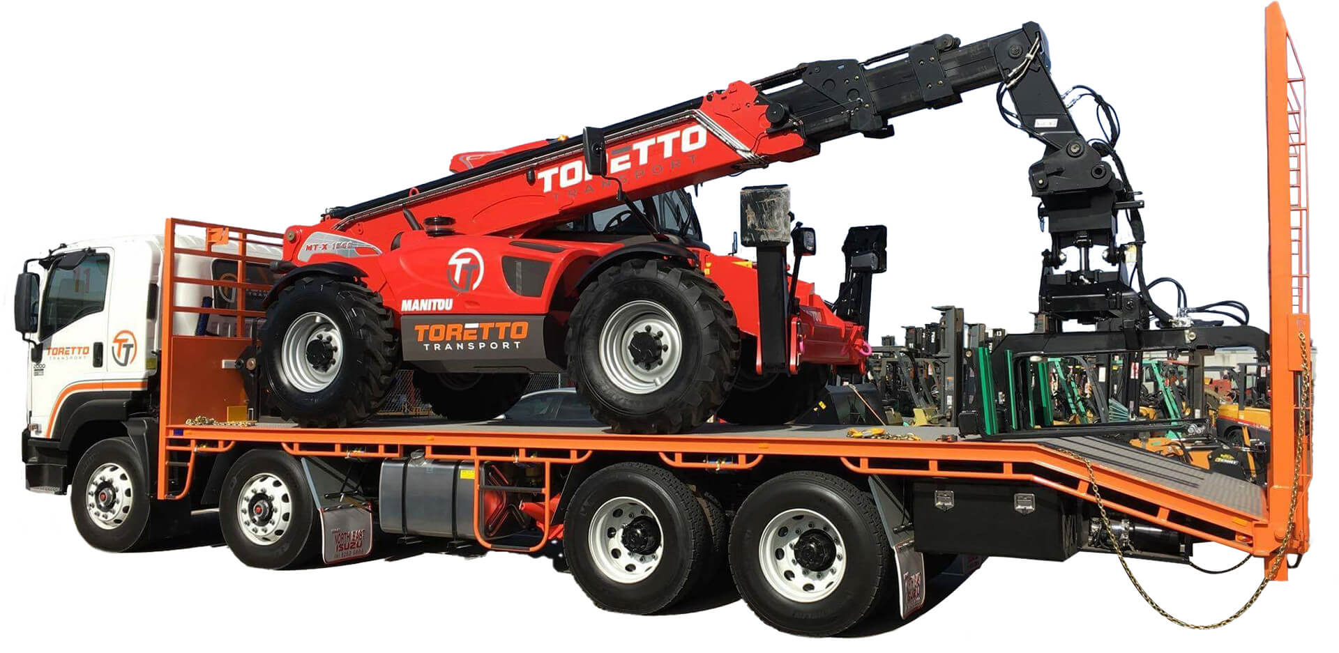 Telehandler packed down on the back of Toretto Truck.