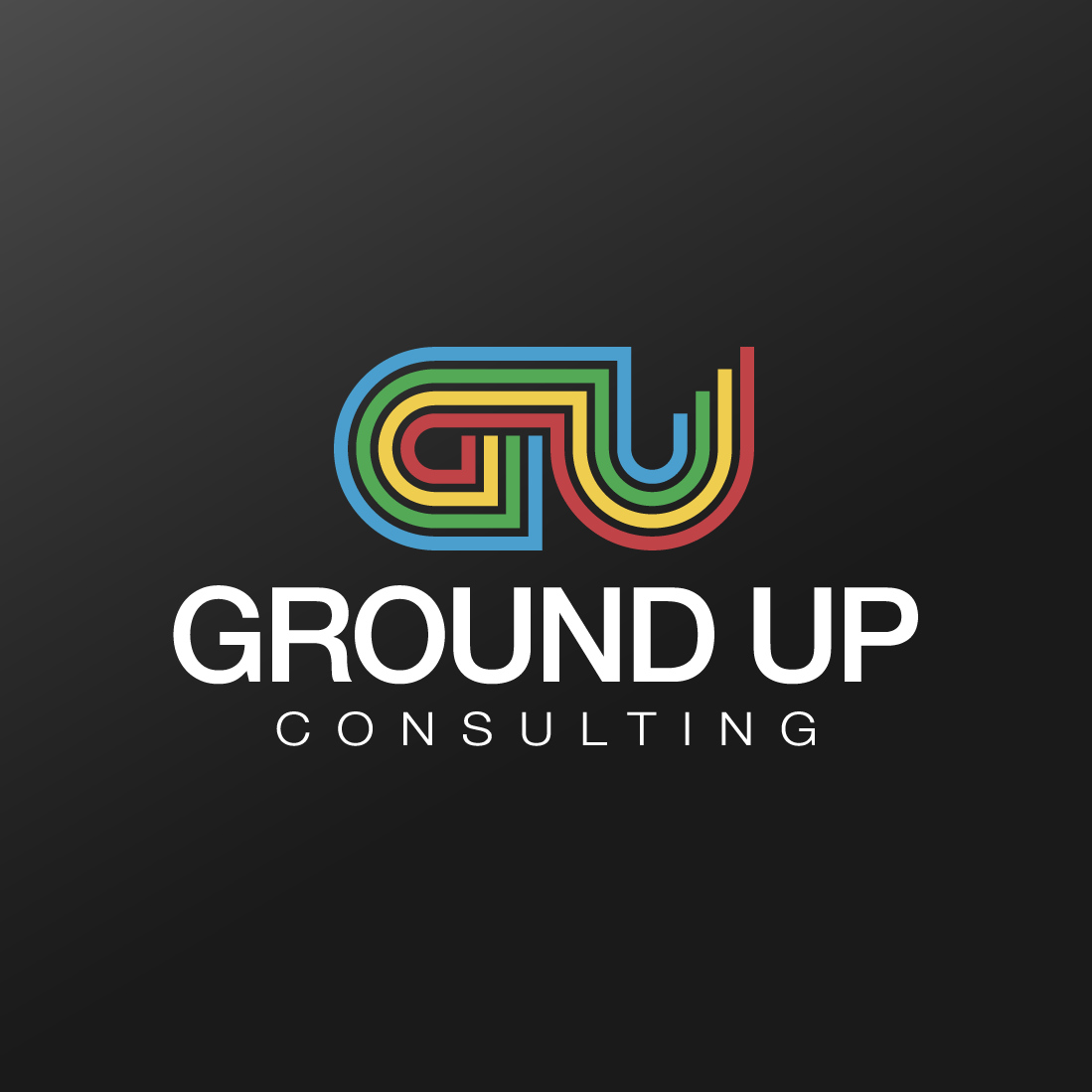 multi colored logo that says ground up consulting