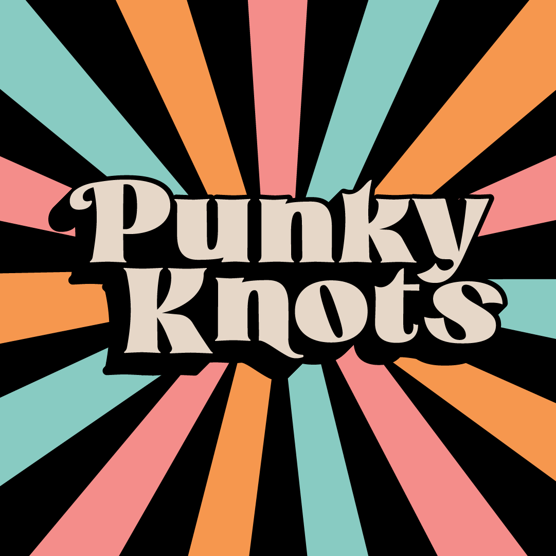 logo with multi colored rays says punky knots